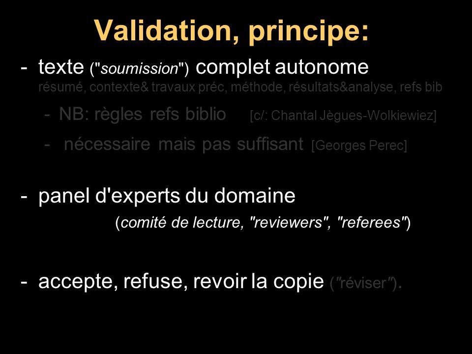 Validation, principe: -texte (