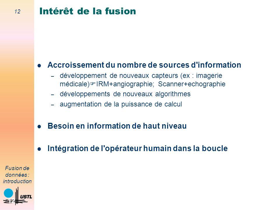 12 Fusion de données : introduction 12 Accroissement du nombre de sources d'information – développement de nouveaux capteurs (ex : imagerie médicale)