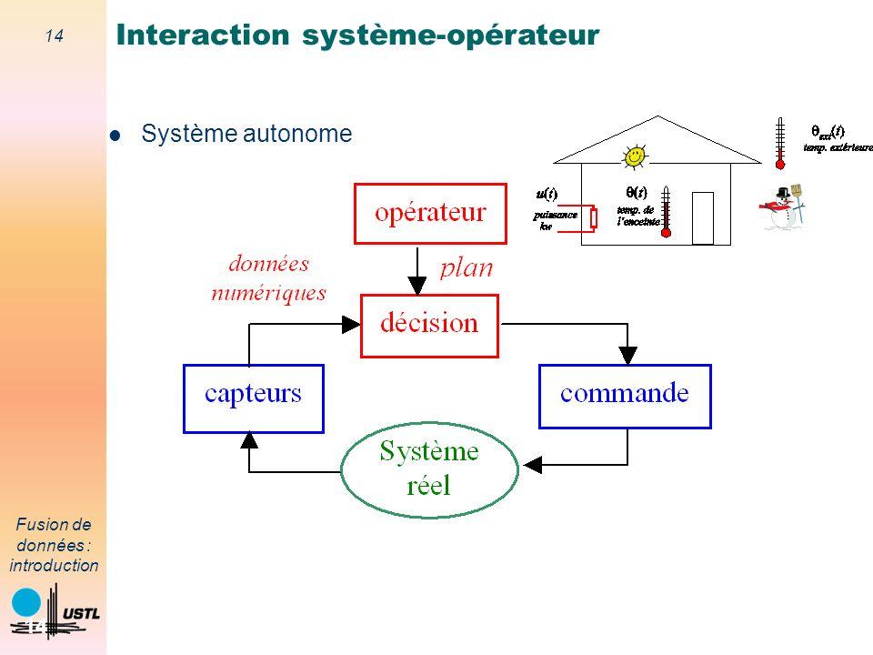 14 Fusion de données : introduction 14 Système autonome Interaction système-opérateur