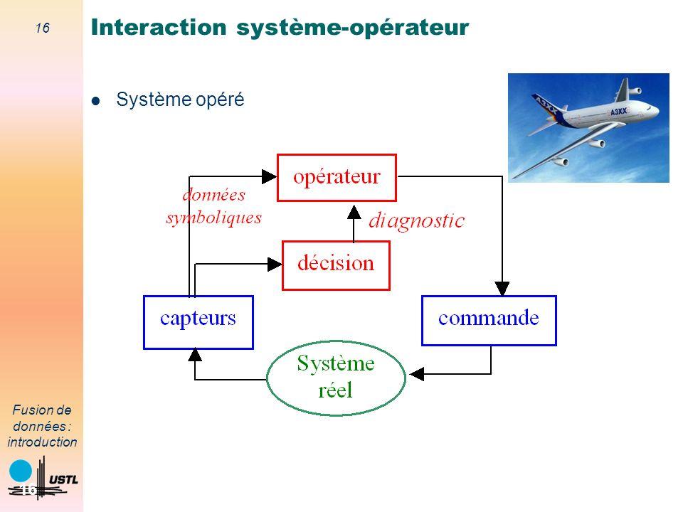 16 Fusion de données : introduction 16 Système opéré Interaction système-opérateur