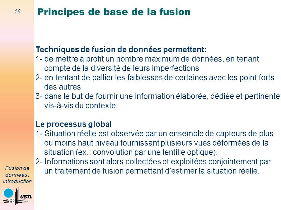 18 Fusion de données : introduction 18 Techniques de fusion de données permettent: 1- de mettre à profit un nombre maximum de données, en tenant compt