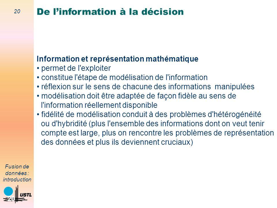 20 Fusion de données : introduction 20 Information et représentation mathématique permet de l'exploiter constitue l'étape de modélisation de l'informa