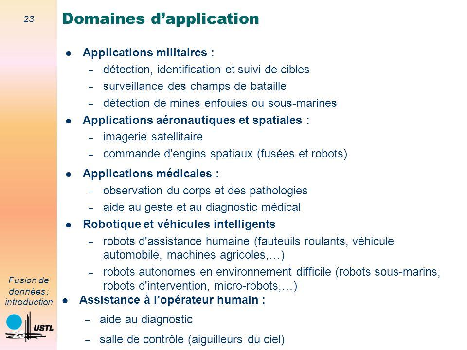 23 Fusion de données : introduction 23 Applications militaires : – détection, identification et suivi de cibles – surveillance des champs de bataille