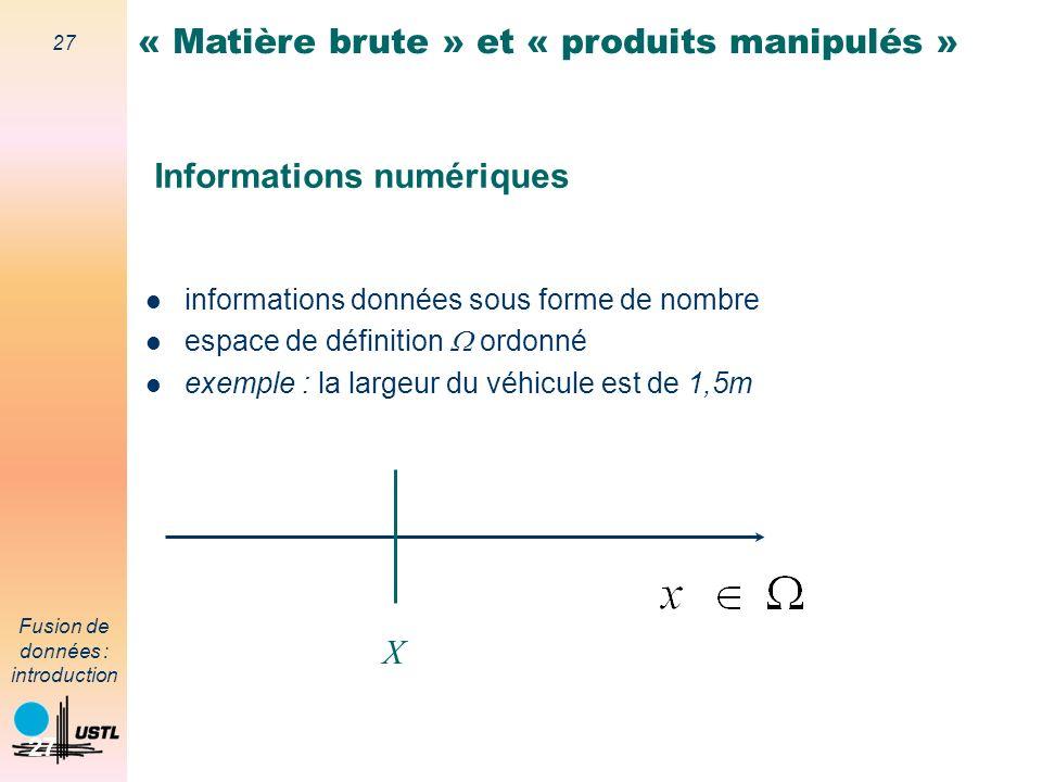27 Fusion de données : introduction 27 Informations numériques informations données sous forme de nombre espace de définition ordonné exemple : la lar