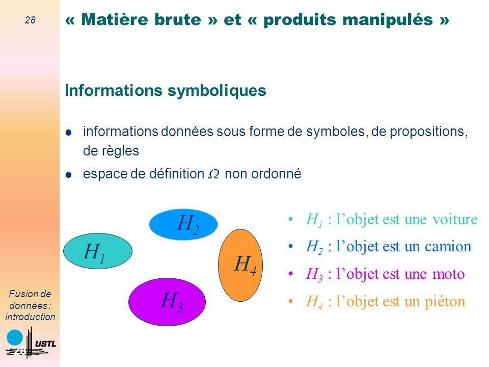 28 Fusion de données : introduction 28 Informations symboliques informations données sous forme de symboles, de propositions, de règles espace de défi