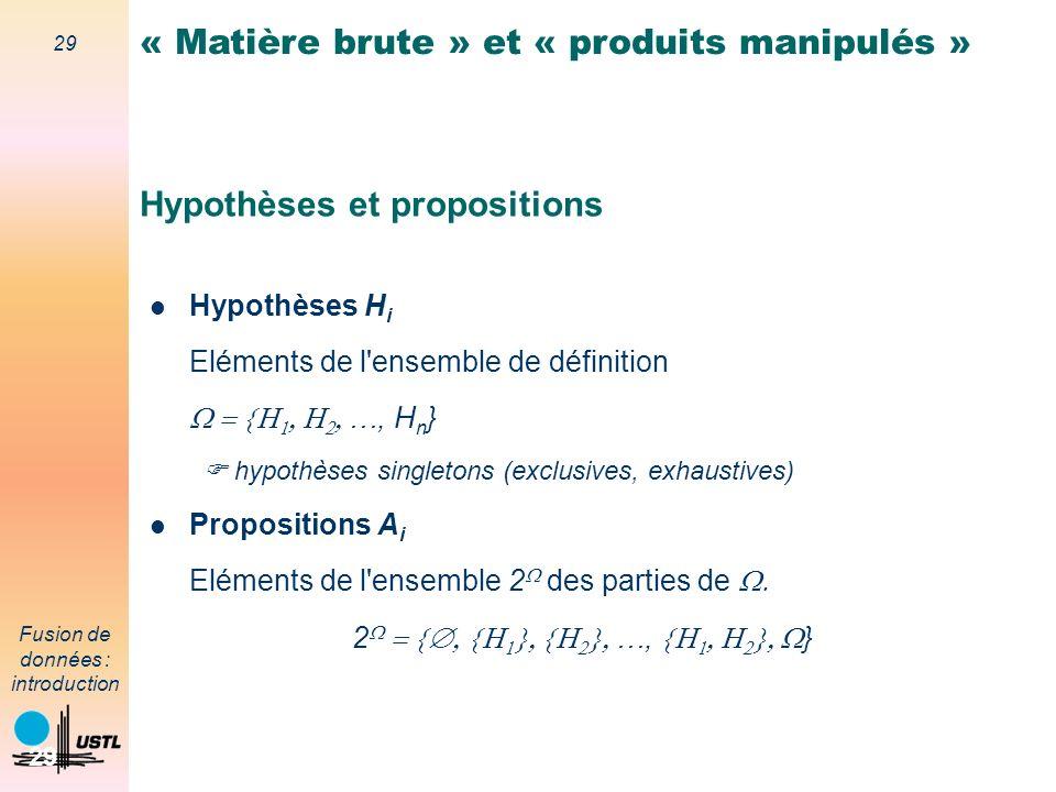 29 Fusion de données : introduction 29 Hypothèses et propositions Hypothèses H i Eléments de l'ensemble de définition …, H n } hypothèses singletons (