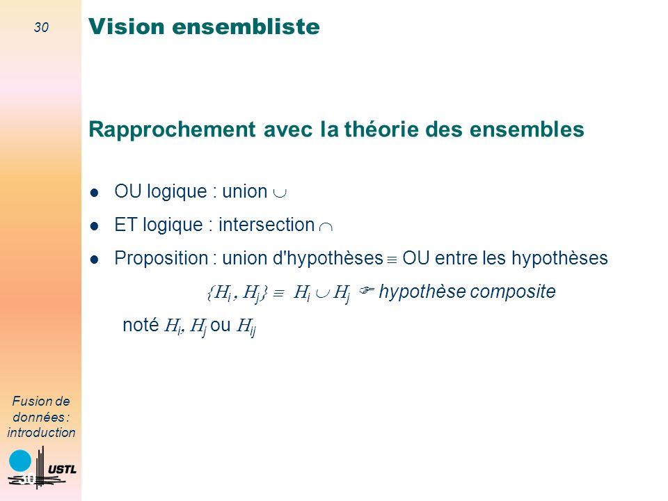 30 Fusion de données : introduction 30 Rapprochement avec la théorie des ensembles OU logique : union ET logique : intersection Proposition : union d'