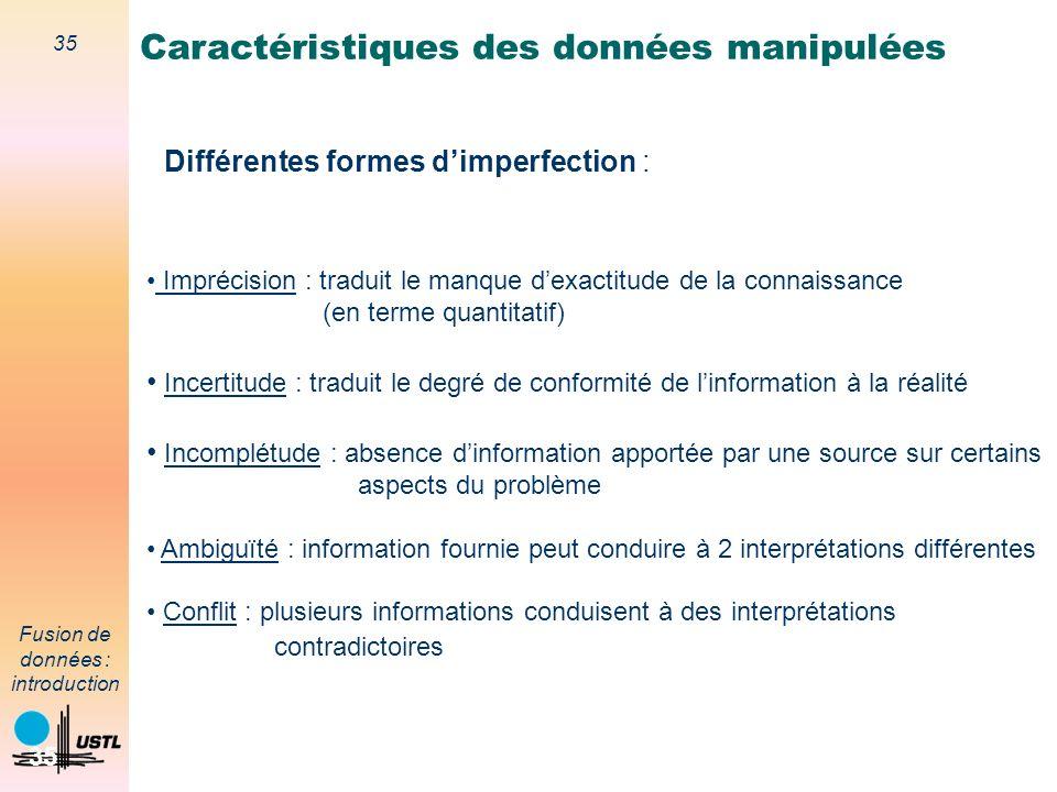 35 Fusion de données : introduction 35 Différentes formes dimperfection : Imprécision : traduit le manque dexactitude de la connaissance (en terme qua