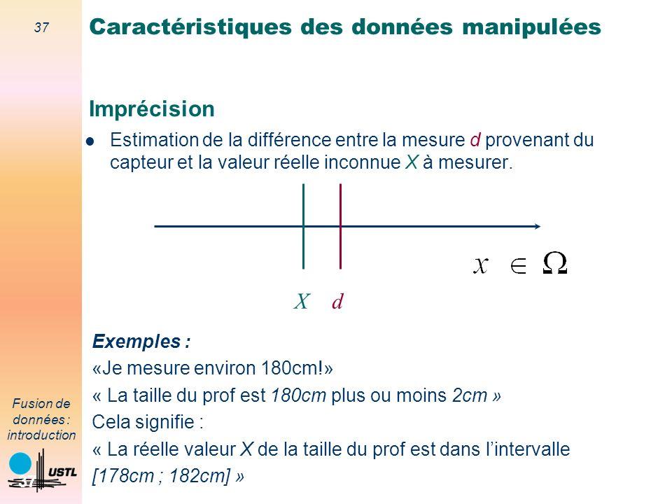 37 Fusion de données : introduction 37 Imprécision Estimation de la différence entre la mesure d provenant du capteur et la valeur réelle inconnue X à