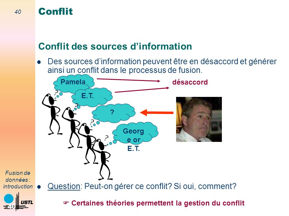40 Fusion de données : introduction 40 Conflit des sources dinformation Conflit Des sources dinformation peuvent être en désaccord et générer ainsi un