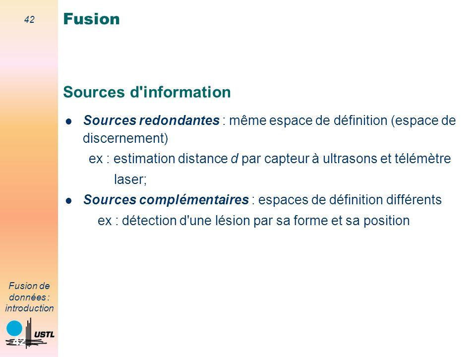 42 Fusion de données : introduction 42 Sources d'information Sources redondantes : même espace de définition (espace de discernement) ex : estimation