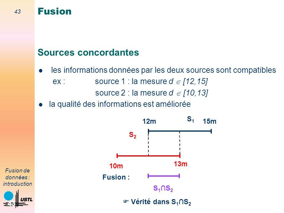 43 Fusion de données : introduction 43 Sources concordantes les informations données par les deux sources sont compatibles ex : source 1 : la mesure d