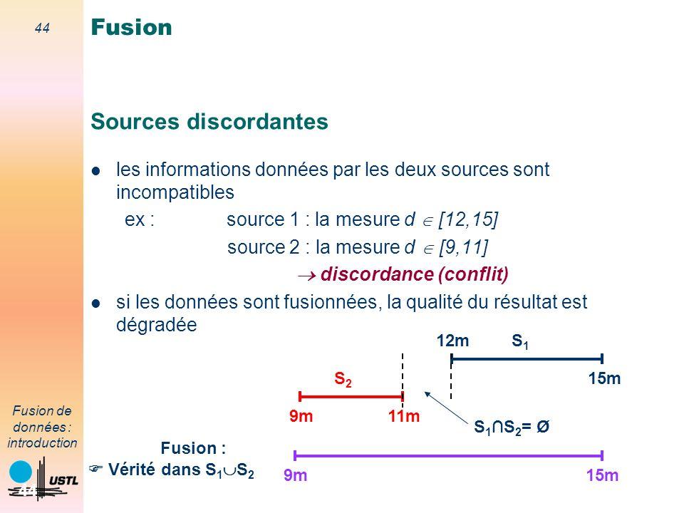 44 Fusion de données : introduction 44 Sources discordantes les informations données par les deux sources sont incompatibles ex : source 1 : la mesure