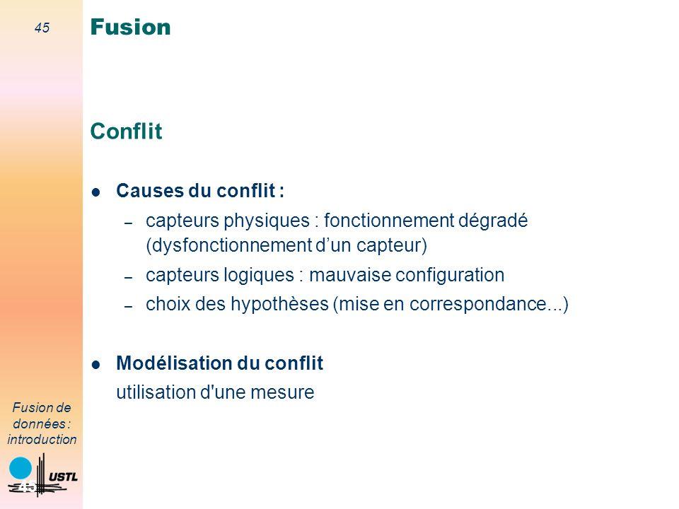 45 Fusion de données : introduction 45 Conflit Causes du conflit : – capteurs physiques : fonctionnement dégradé (dysfonctionnement dun capteur) – cap