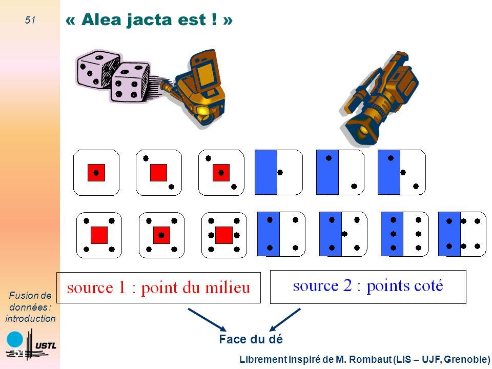 51 Fusion de données : introduction 51 « Alea jacta est ! » Librement inspiré de M. Rombaut (LIS – UJF, Grenoble) Face du dé