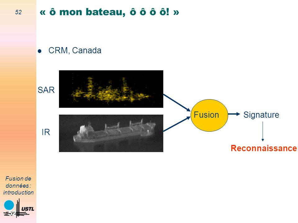 52 Fusion de données : introduction 52 FusionSignature SAR IR Reconnaissance « ô mon bateau, ô ô ô ô! » CRM, Canada