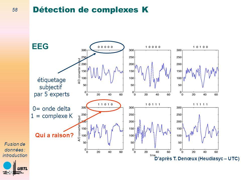 58 Fusion de données : introduction 58 EEG étiquetage subjectif par 5 experts 0= onde delta 1 = complexe K Détection de complexes K Daprès T. Denœux (
