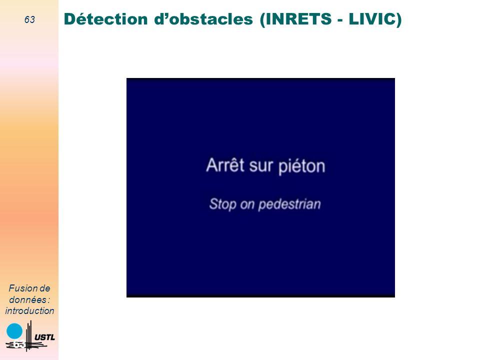 63 Fusion de données : introduction 63 Détection dobstacles (INRETS - LIVIC)