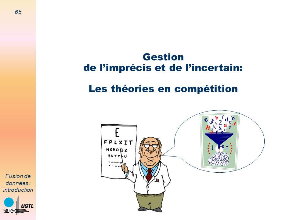 65 Fusion de données : introduction 65 Gestion de limprécis et de lincertain: Les théories en compétition