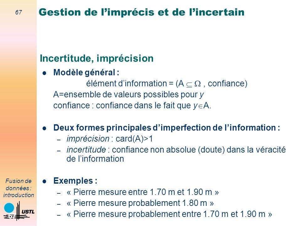 67 Fusion de données : introduction 67 Incertitude, imprécision Modèle général : élément dinformation = (A, confiance) A=ensemble de valeurs possibles