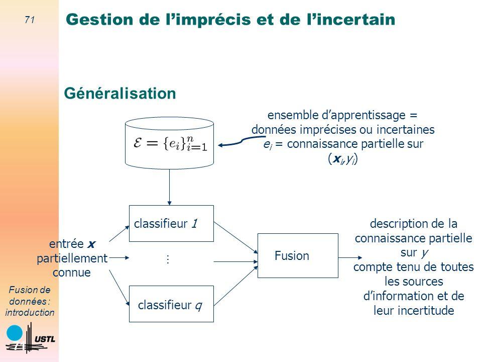 71 Fusion de données : introduction 71 Généralisation classifieur 1 ensemble dapprentissage = données imprécises ou incertaines e i = connaissance par