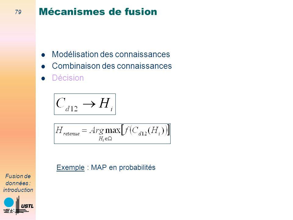 79 Fusion de données : introduction 79 Modélisation des connaissances Combinaison des connaissances Décision Mécanismes de fusion Exemple : MAP en pro