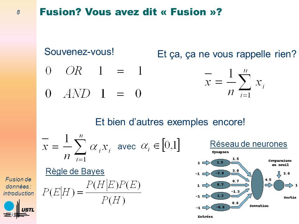 39 Fusion de données : introduction 39 Modélisation de la méconnaissance (ignorance) Représentation du fait que l on ne sait pas – modélisation implicite (probabilités) – modélisation explicite (masse de croyance sur le référentiel) Exemple : – jeu de pile ou face : P(pile) = 50%, P(face) = 50% Joueriez vous votre vie sur un toss.