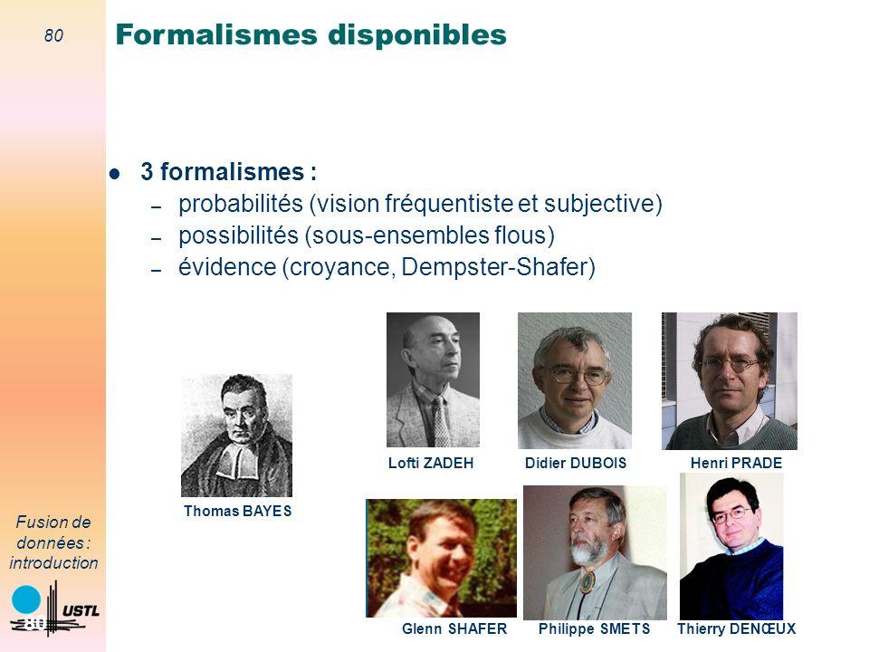 80 Fusion de données : introduction 80 3 formalismes : – probabilités (vision fréquentiste et subjective) – possibilités (sous-ensembles flous) – évid