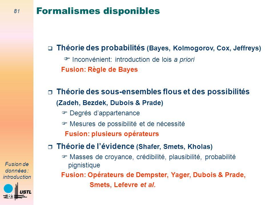 81 Fusion de données : introduction 81 Théorie des probabilités (Bayes, Kolmogorov, Cox, Jeffreys) Inconvénient: introduction de lois a priori Fusion: