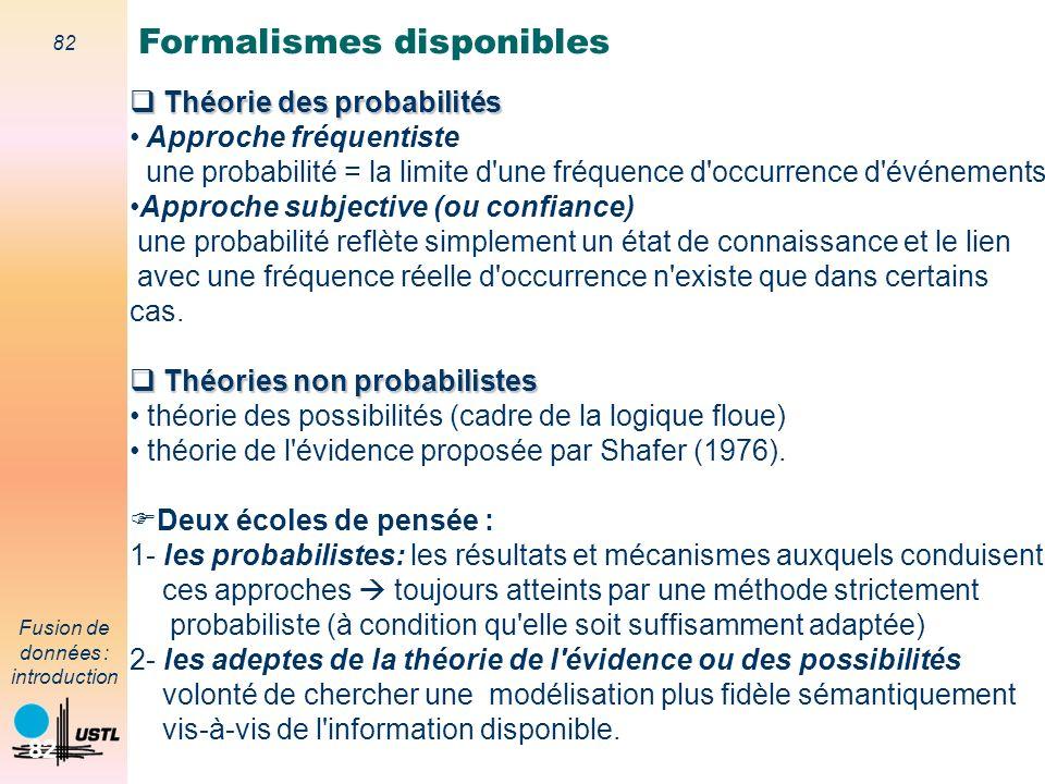 82 Fusion de données : introduction 82 Théorie des probabilités Théorie des probabilités Approche fréquentiste une probabilité = la limite d'une fréqu