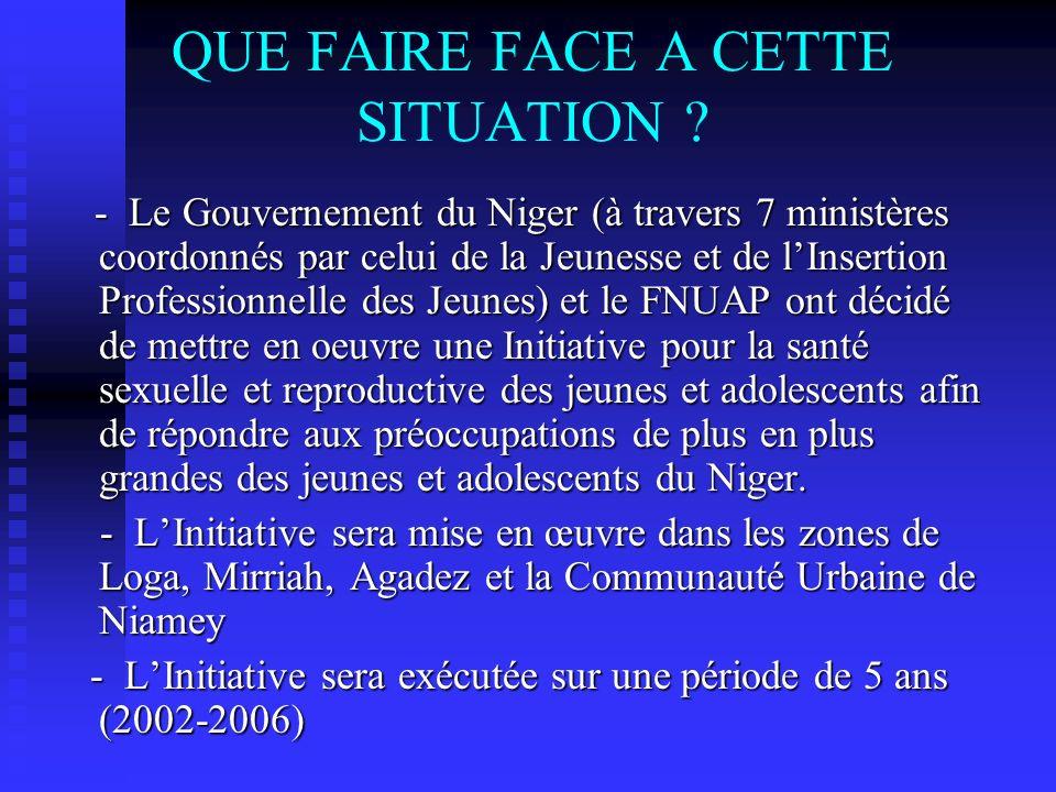 QUE FAIRE FACE A CETTE SITUATION ? - Le Gouvernement du Niger (à travers 7 ministères coordonnés par celui de la Jeunesse et de lInsertion Professionn