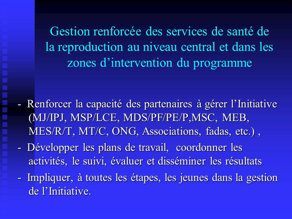 Gestion renforcée des services de santé de la reproduction au niveau central et dans les zones dintervention du programme - Renforcer la capacité des