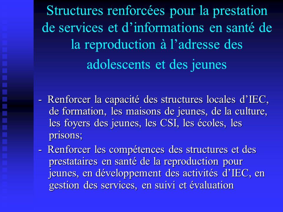 Structures renforcées pour la prestation de services et dinformations en santé de la reproduction à ladresse des adolescents et des jeunes - Renforcer