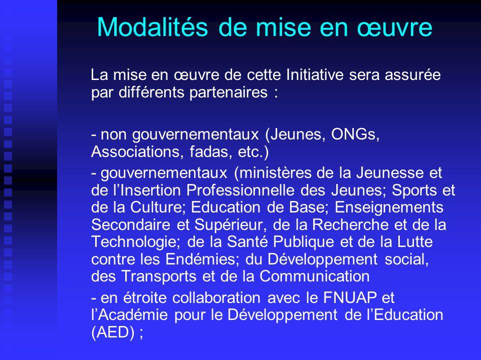 Modalités de mise en œuvre La mise en œuvre de cette Initiative sera assurée par différents partenaires : - non gouvernementaux (Jeunes, ONGs, Associa
