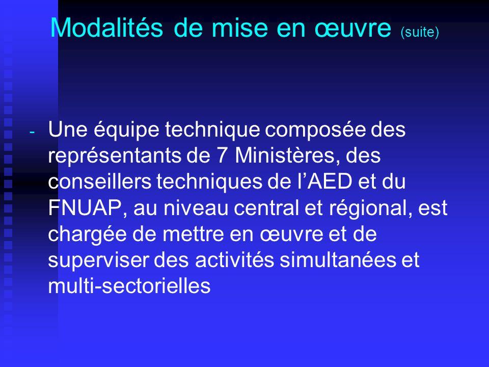 Modalités de mise en œuvre (suite) - - Une équipe technique composée des représentants de 7 Ministères, des conseillers techniques de lAED et du FNUAP