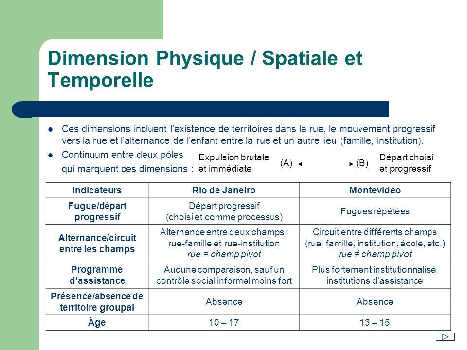 Dimension Physique / Spatiale et Temporelle Ces dimensions incluent lexistence de territoires dans la rue, le mouvement progressif vers la rue et lalt