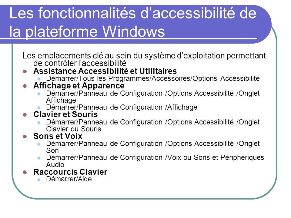 Les fonctionnalités daccessibilité de la plateforme Windows Les emplacements clé au sein du système dexploitation permettant de contrôler laccessibili
