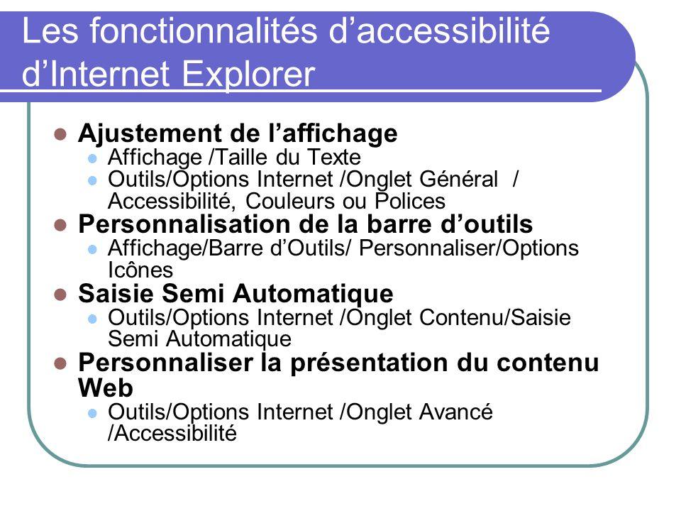 Les fonctionnalités daccessibilité dInternet Explorer Ajustement de laffichage Affichage /Taille du Texte Outils/Options Internet /Onglet Général / Ac