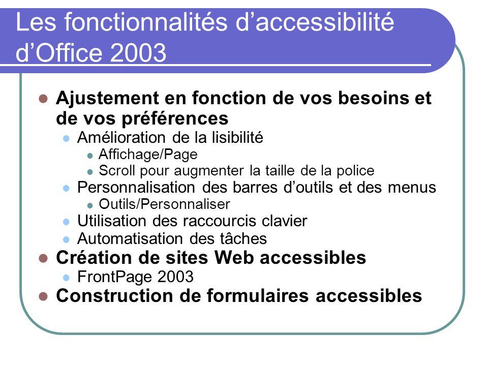 Les fonctionnalités daccessibilité dOffice 2003 Ajustement en fonction de vos besoins et de vos préférences Amélioration de la lisibilité Affichage/Pa