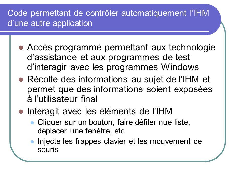 Code permettant de contrôler automatiquement lIHM dune autre application Accès programmé permettant aux technologie dassistance et aux programmes de t