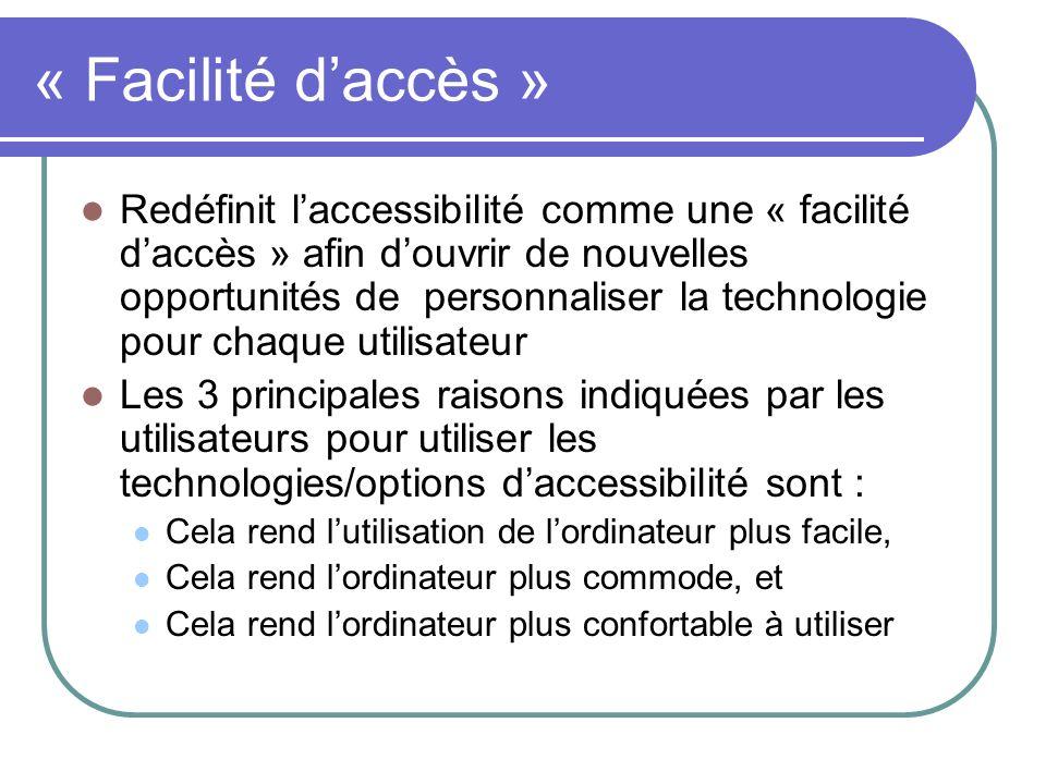 « Facilité daccès » Redéfinit laccessibilité comme une « facilité daccès » afin douvrir de nouvelles opportunités de personnaliser la technologie pour