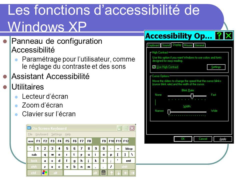 Les fonctions daccessibilité de Windows XP Panneau de configuration Accessibilité Paramétrage pour lutilisateur, comme le réglage du contraste et des