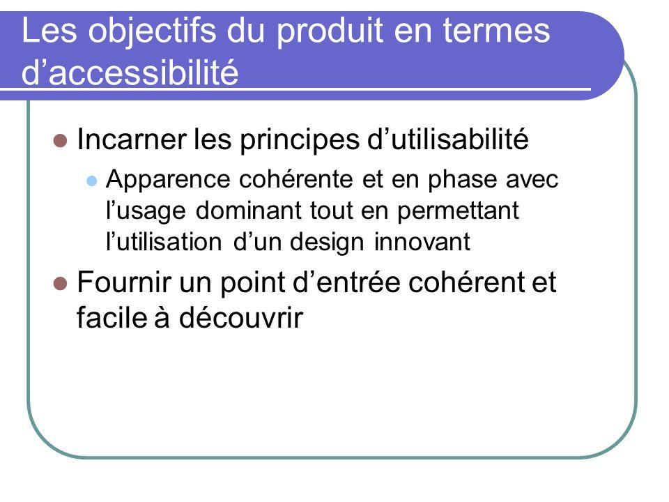 Les objectifs du produit en termes daccessibilité Incarner les principes dutilisabilité Apparence cohérente et en phase avec lusage dominant tout en p