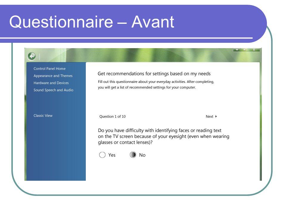 Questionnaire – Avant