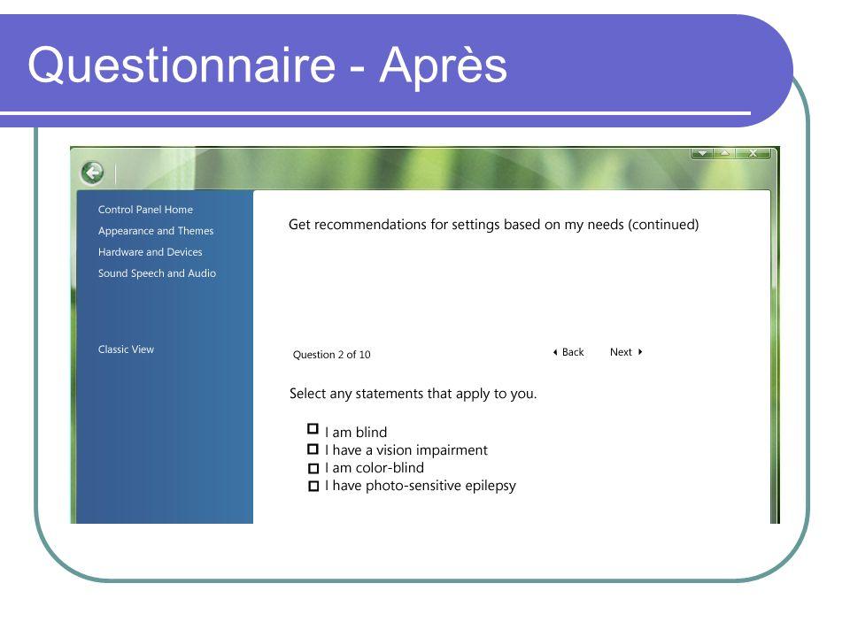 Questionnaire - Après