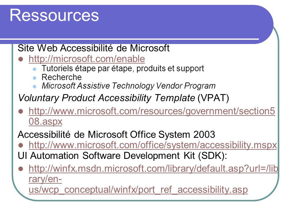 Site Web Accessibilité de Microsoft http://microsoft.com/enable Tutoriels étape par étape, produits et support Recherche Microsoft Assistive Technolog
