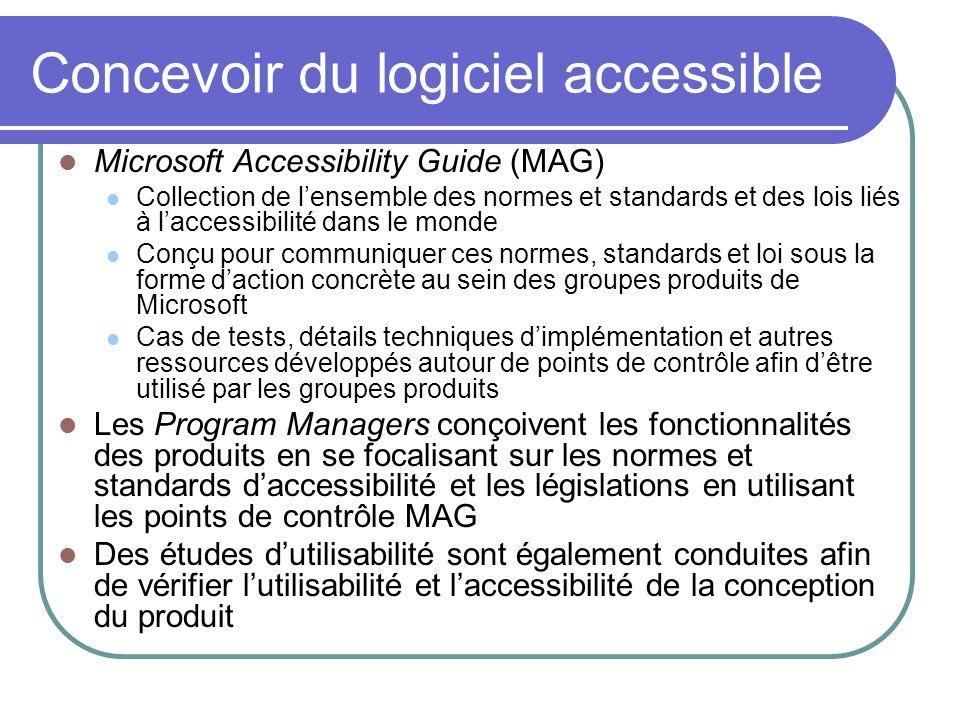Microsoft Accessibility Guide (MAG) Collection de lensemble des normes et standards et des lois liés à laccessibilité dans le monde Conçu pour communi