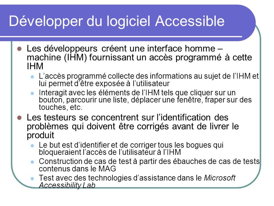 Les développeurs créent une interface homme – machine (IHM) fournissant un accès programmé à cette IHM Laccès programmé collecte des informations au s