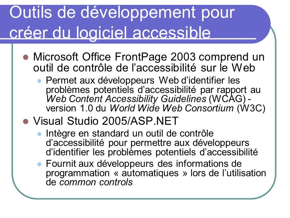 Outils de développement pour créer du logiciel accessible Microsoft Office FrontPage 2003 comprend un outil de contrôle de laccessibilité sur le Web P