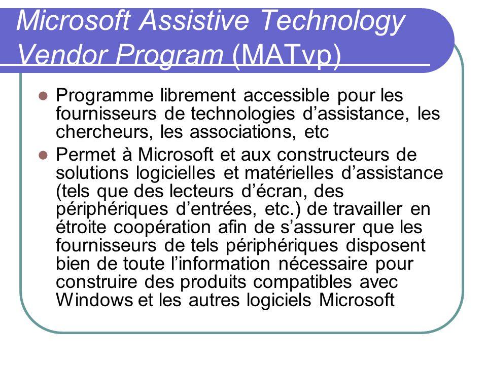 Microsoft Assistive Technology Vendor Program (MATvp) Programme librement accessible pour les fournisseurs de technologies dassistance, les chercheurs